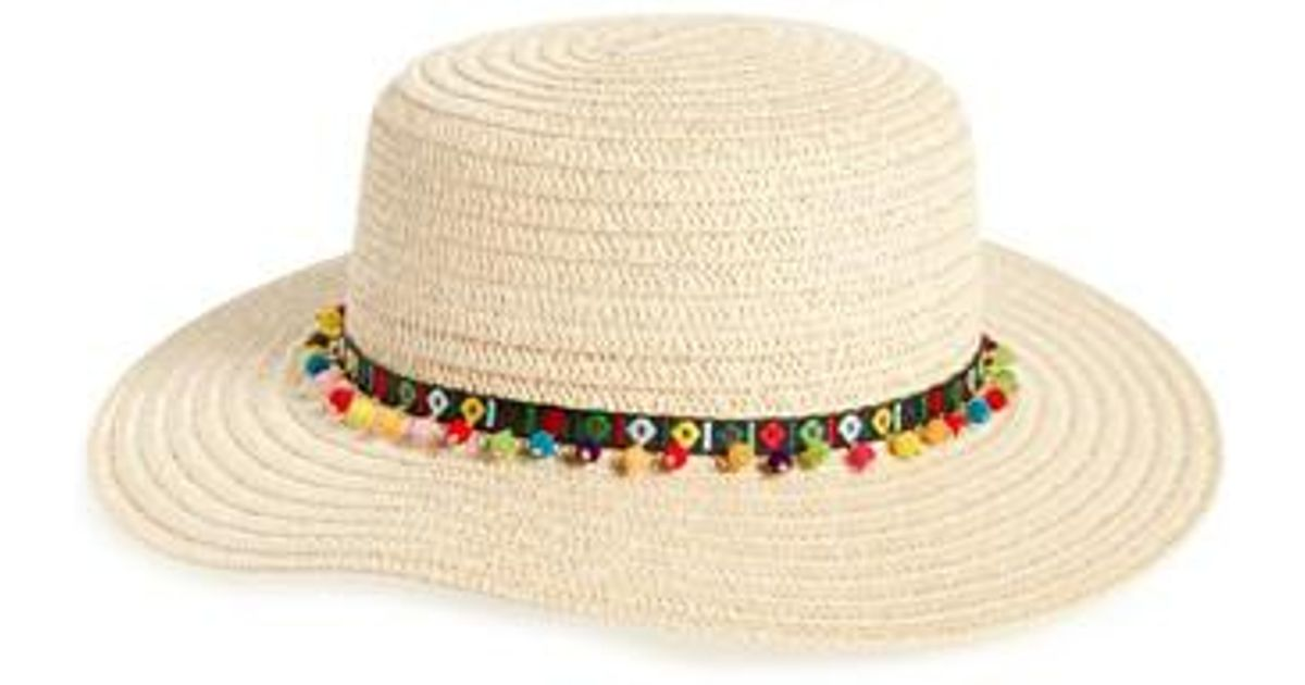 52f361a707f Lyst - Caslon Caslon Bead Trim Straw Boater Hat in Natural