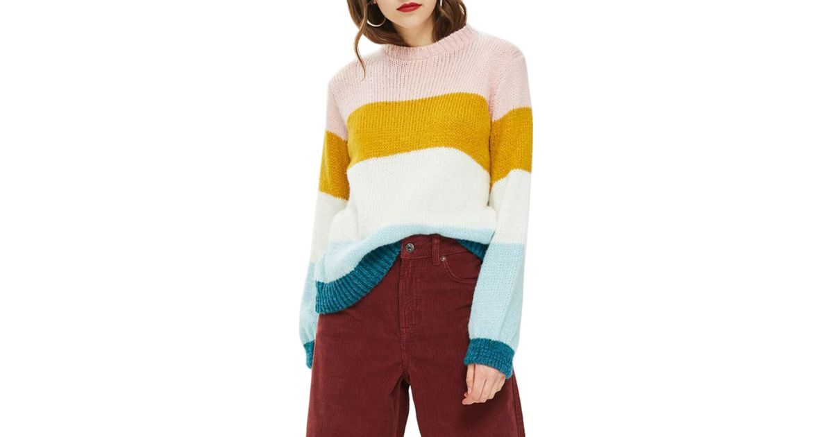 aadcfb98b Lyst - TOPSHOP Colorblock Knit Pullover