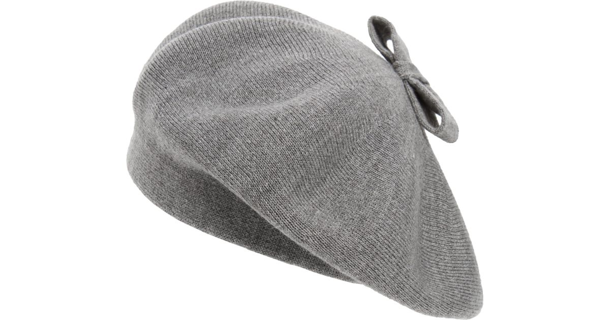 Lyst - Kate Spade Tab Bow Beret in Gray ff89553ce60