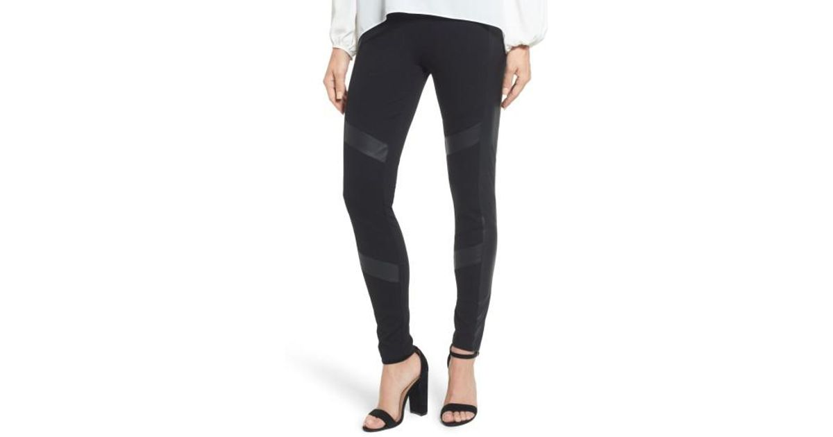 49edfe877c5de Two By Vince Camuto Faux Leather Chevron Panel Ponte Leggings in Black -  Lyst