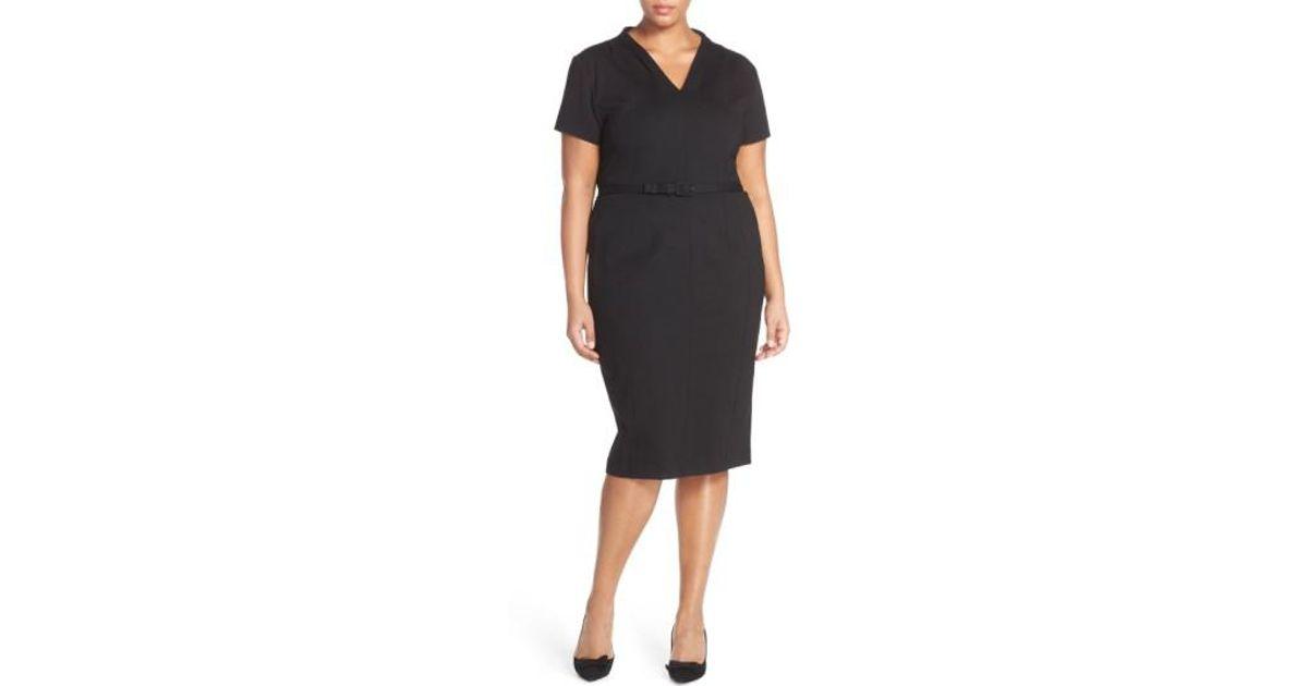 d0ba9bc676 Lyst - Sejour Belted Ponte V-neck Sheath Dress in Black
