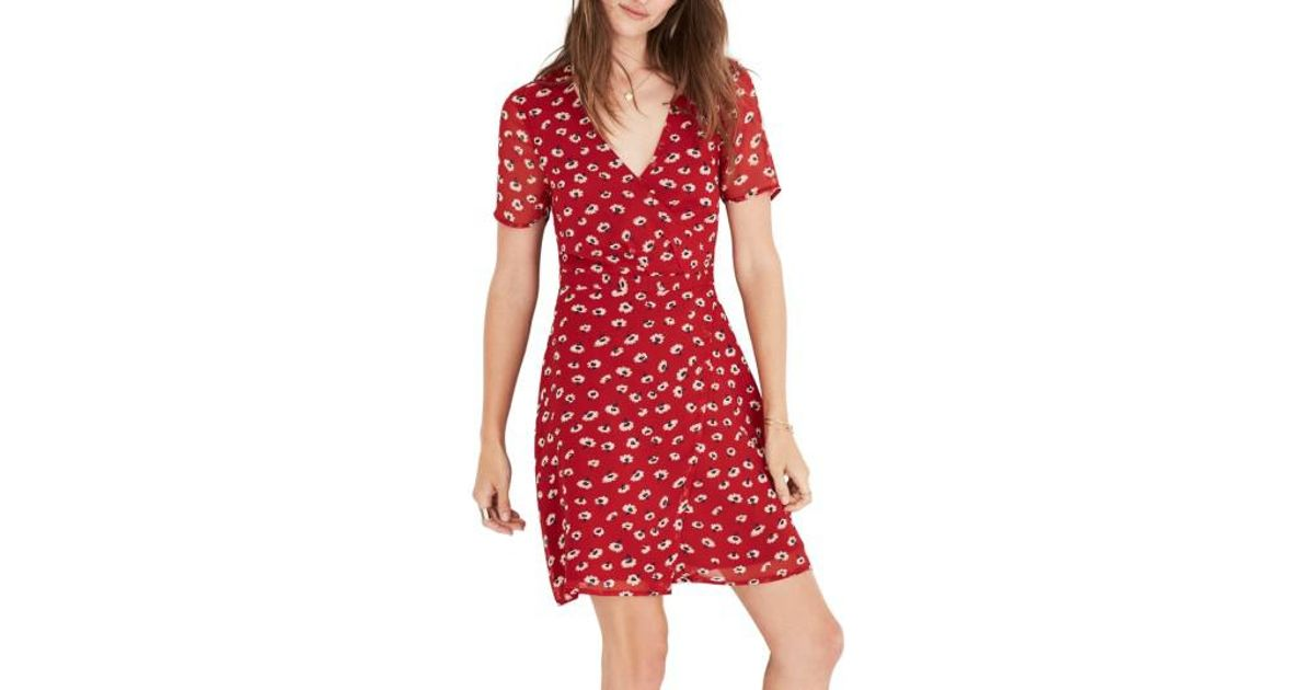 8f15cc3d361 Madewell Floral Faux Wrap Dress in Red - Lyst