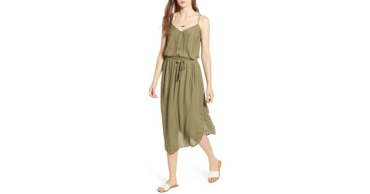 Lyst - Scotch & Soda Strappy Cutout Midi Dress in Green