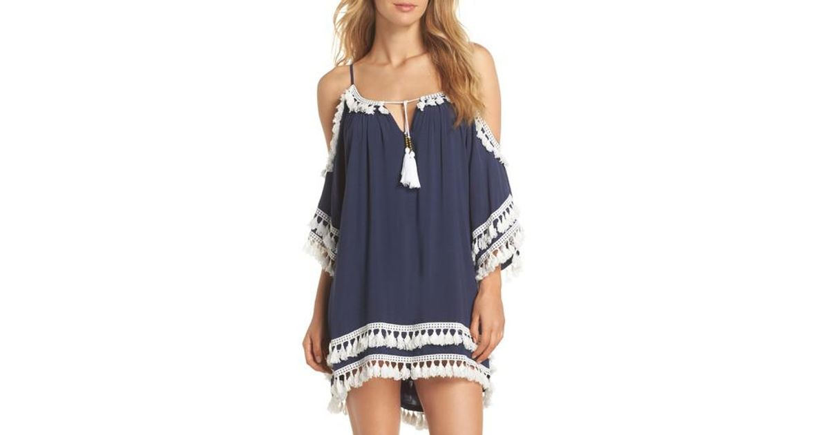 3a4b65fceda77 Surf Gypsy Tassled Cold Shoulder Cover-up Tunic in Blue - Lyst