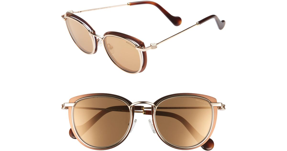 ebba6582c2cf Lyst - Moncler 50mm Mirrored Geometric Sunglasses - Bronze  Rose Gold   Havana in Metallic
