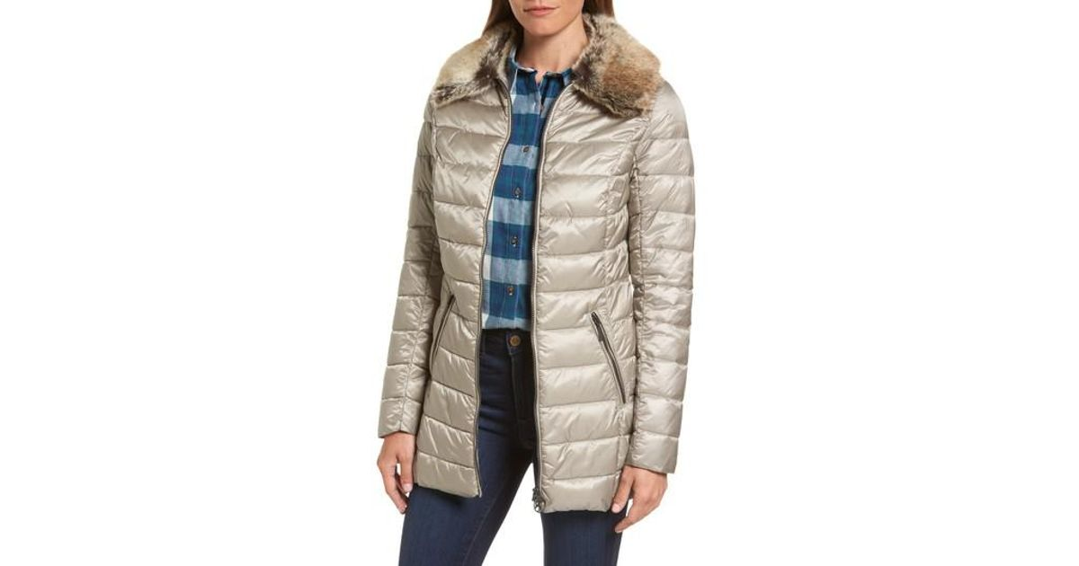 Lyst Barbour Munro Water Resistant Quilted Jacket With Faux Fur Collar
