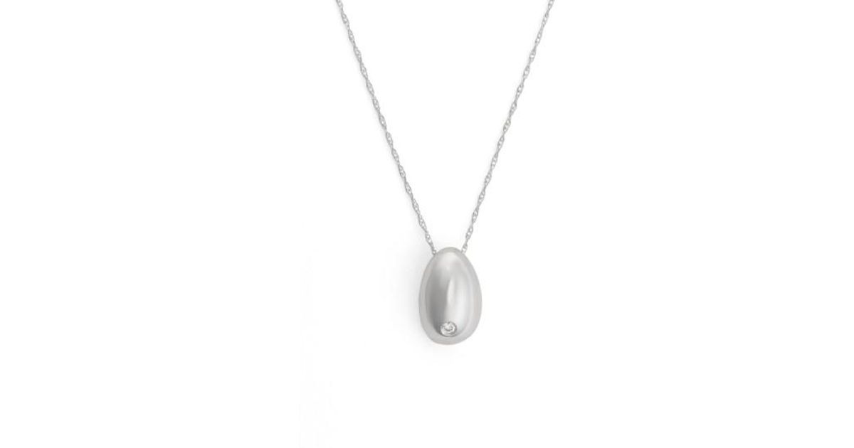 Lyst sophie buhai tiny egg diamond pendant necklace in metallic mozeypictures Gallery