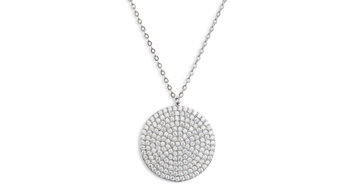 8d5a54863cea1 Lyst - Nordstrom Pave Spheres Medium Disc Pendant Necklace in Metallic