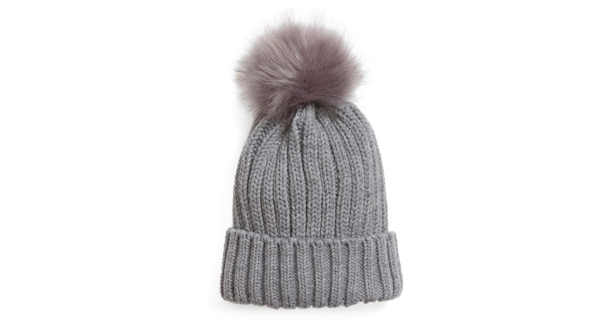 Lyst - BP. Faux Fur Pompom Beanie in Gray - Save 68.42105263157895% c931871eace