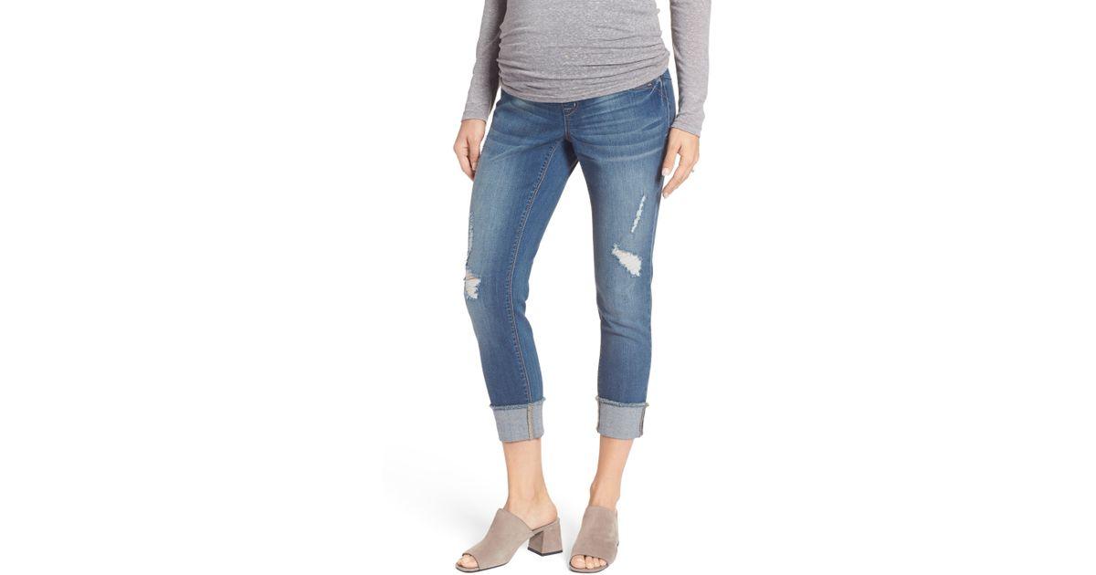 0fa88aeda5abf Lyst - 1822 Denim Destructed Maternity Crop Jeans in Blue