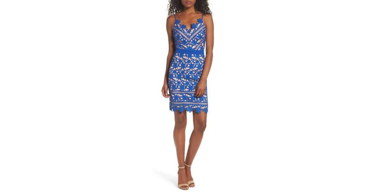 Lyst - Adelyn Rae Whitney Lace Sheath Dress in Blue 55fce03dd8