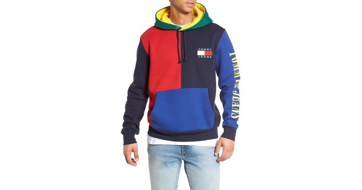 7be7a45102 Tommy Hilfiger 90s Colorblock Hoodie in Blue for Men - Lyst