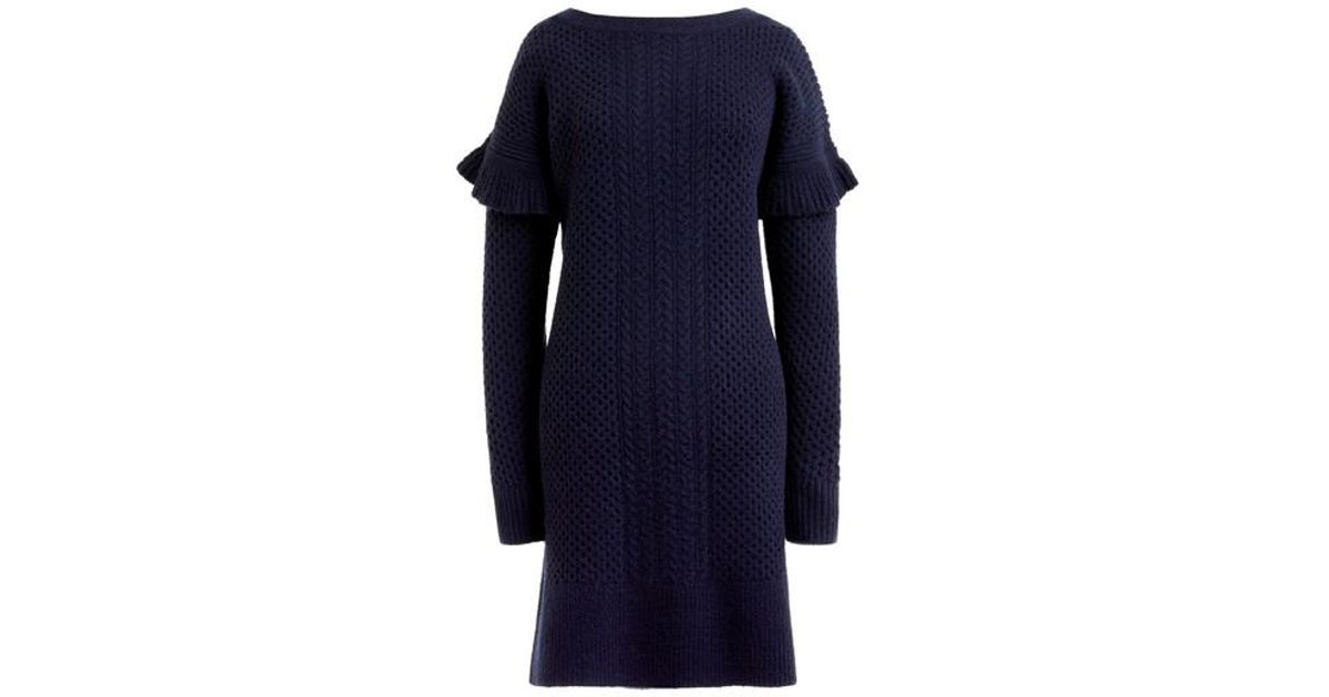 32e8115629e Lyst - J.Crew J.crew Holden Ruffle Sleeve Cable Knit Sweater Dress in Blue