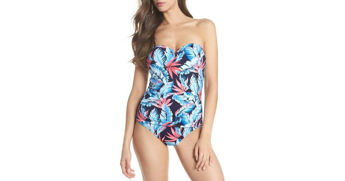 1128f29c2f1a6 Lyst - Tommy Bahama Palms Of Paradise Bandeau One-piece Swimsuit in Blue