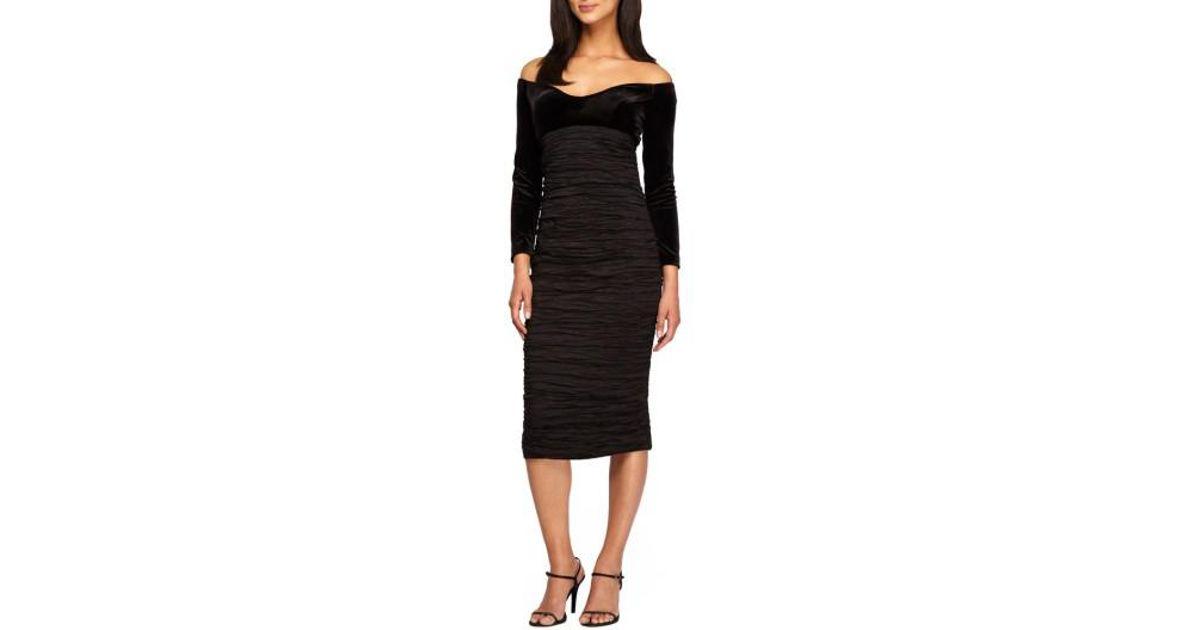 647374b8264 Lyst - Alex Evenings Off The Shoulder Velvet   Taffeta Sheath Dress in Black