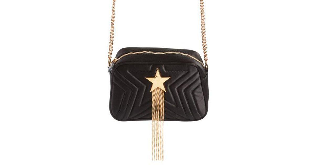 b56a58bf7cf6 Lyst - Stella Mccartney Mini Star Quilted Satin Camera Bag in Black