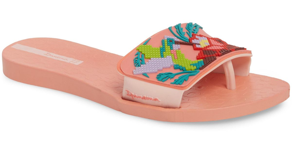 bb67d39b386 Lyst - Ipanema Nectar Floral Slide Sandal in Pink - Save 46%