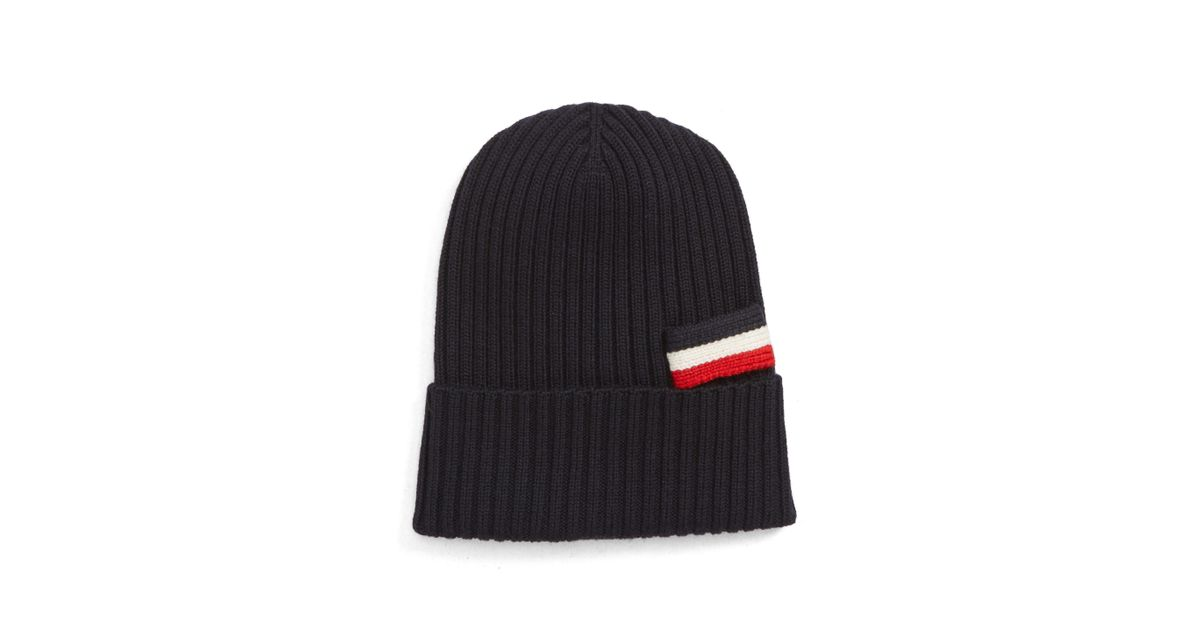 06113e31e40 Lyst - Moncler Virgin Wool Beanie - in Black for Men