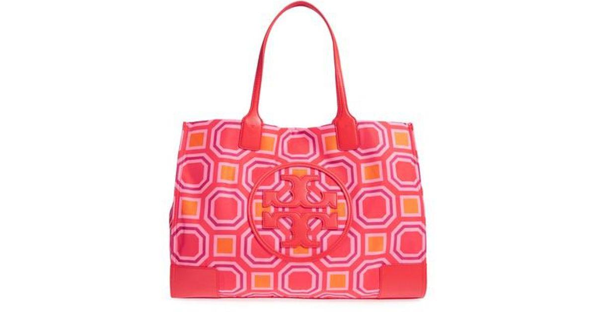 2d2f8a403f35 Lyst - Tory Burch Ella Octagon Print Nylon Tote in Pink