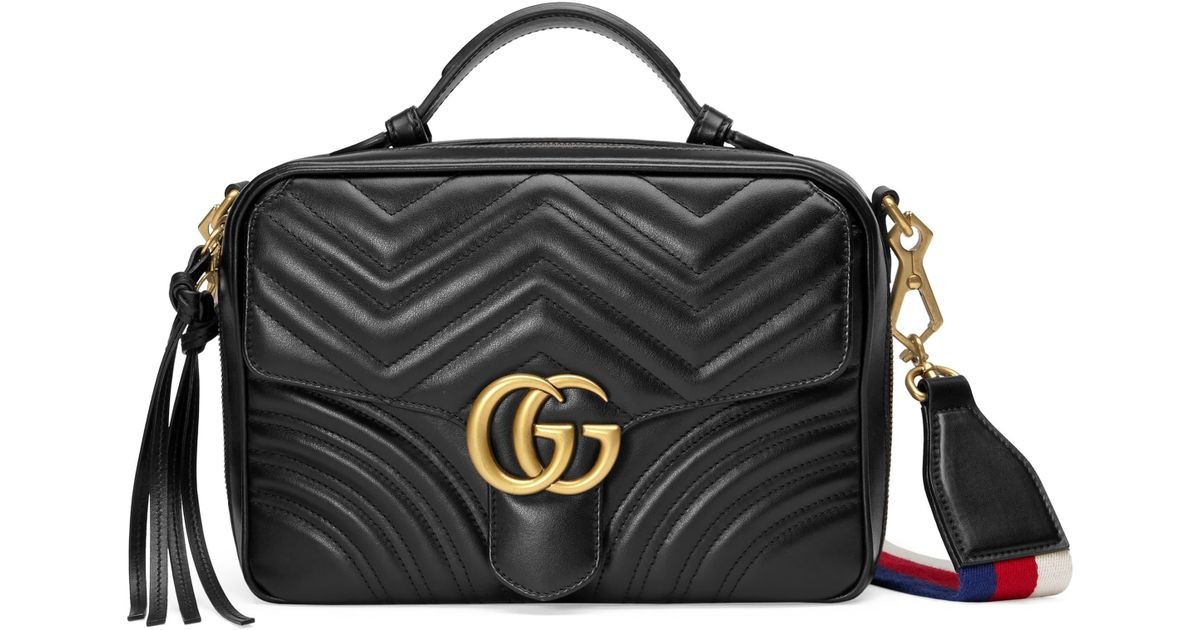 0c59e7a5ddc4 Gucci Small Gg Marmont 2.0 Matelassé Leather Camera Bag With Webbed Strap -  in Black - Lyst