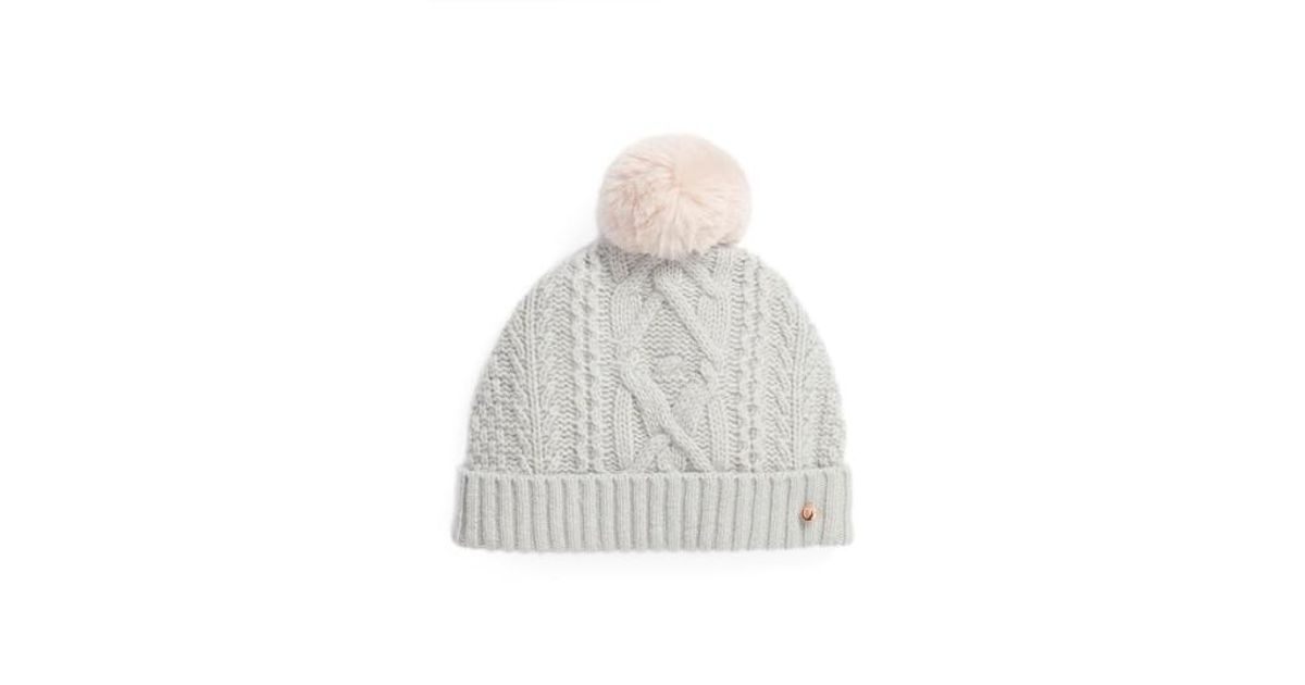 75f4a678e40eb Lyst - Ted Baker Cable Knit Faux Fur Pompom Beanie in Gray