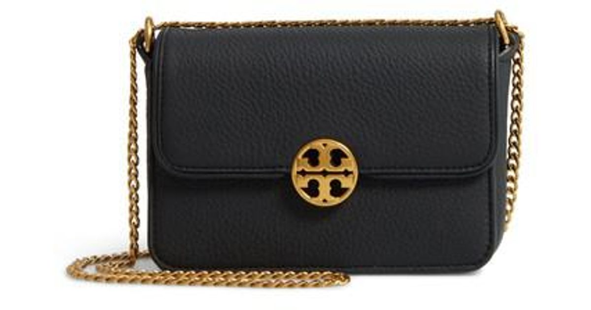 8d4276e06eb Lyst - Tory Burch Mini Chelsea Leather Convertible Crossbody Bag in Black