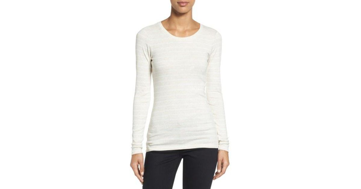4580a5fc9 Lyst - Caslon Caslon Long Sleeve Scoop Neck Cotton Tee in White