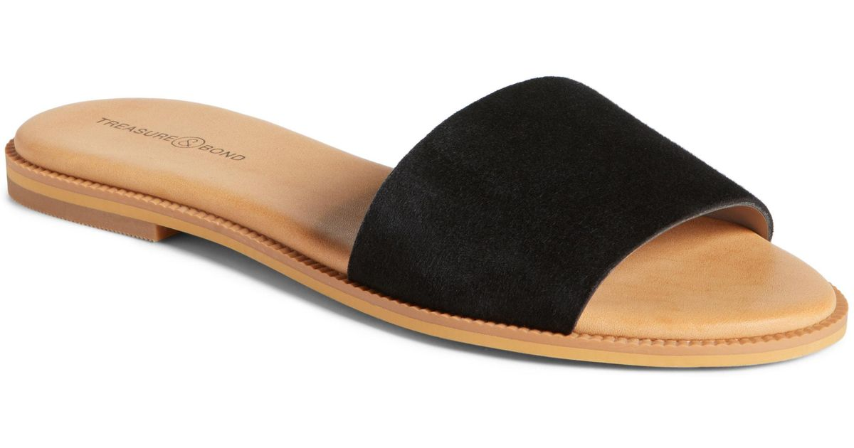 28f617f9a3c1e Lyst - Treasure   Bond Mere Flat Slide Sandal in Black