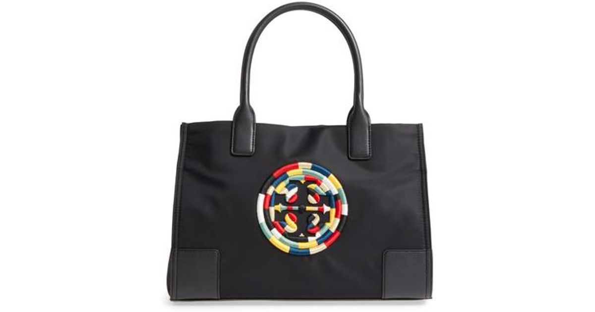 1f31163cf60a Lyst - Tory Burch Mini Ella Embroidered Logo Nylon Tote in Black