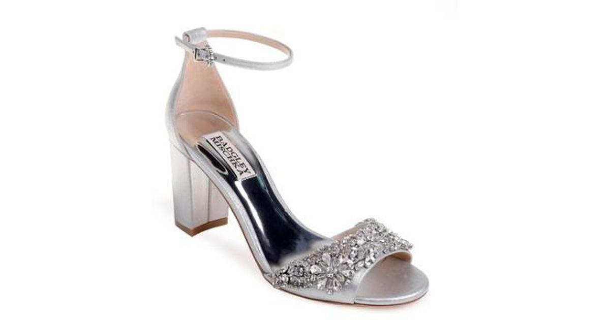 6daafc1fe10 Lyst - Badgley Mischka Hines Embellished Block Heel Sandal in Metallic