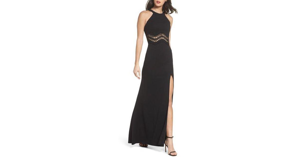 0c77c42df Sequin Hearts Soutache Waist Scuba Gown in Black - Lyst