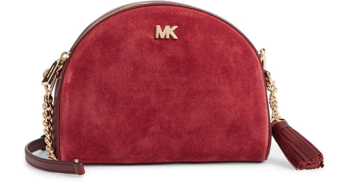655d0a174f92 MICHAEL Michael Kors Ginny Half Moon Leather Crossbody Bag - Burgundy in  Red - Lyst