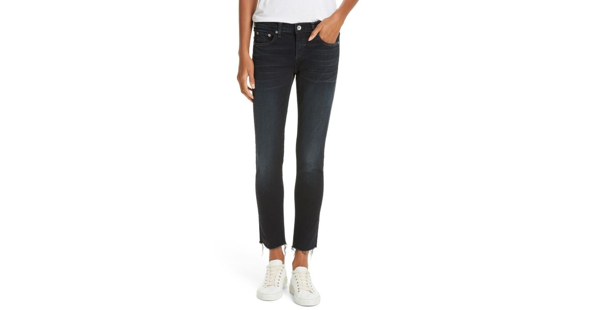 28b35b49 Rag & Bone The Dre Raw Hem Ankle Slim Boyfriend Jeans in Blue - Lyst