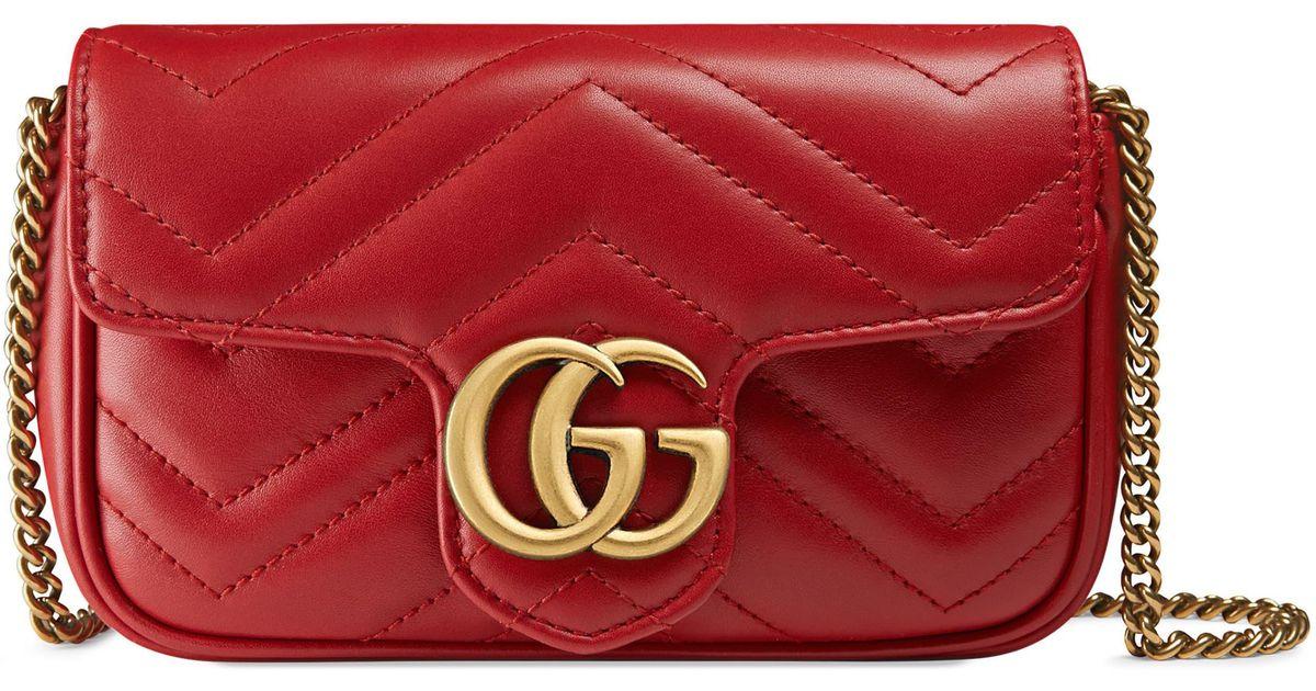a2f1814ae Gucci Mini Borsa Gg Marmont In Pelle Matelassé in Red - Lyst