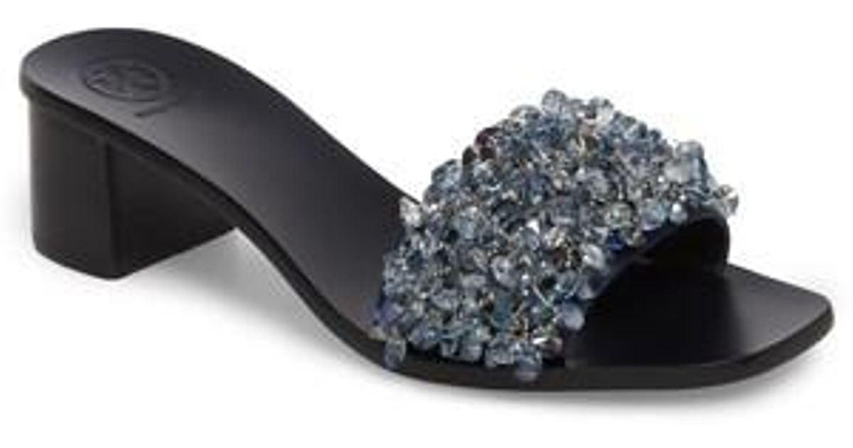 56e98a0cf0e1f Lyst - Tory Burch Logan Embellished Slide Sandal in Black