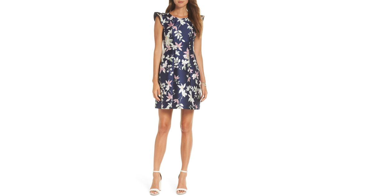 d4962cb4cf4c9 Nordstrom 1901 Flutter Sleeve Jacquard Dress in Blue - Lyst