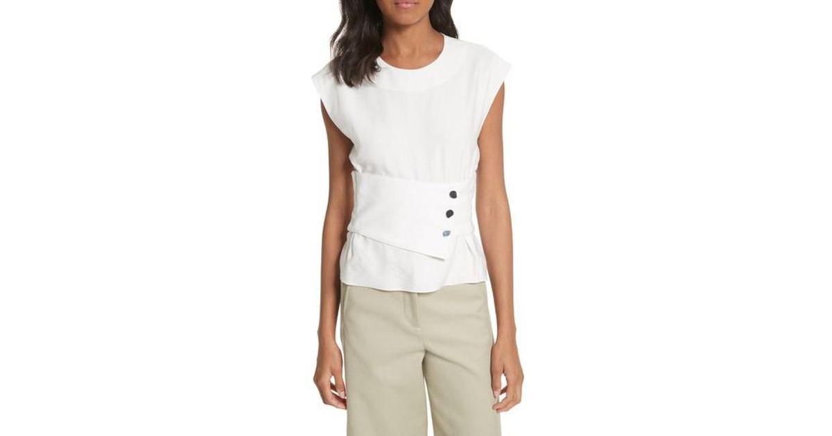 e5af5e9627fd3 Lyst - Tibi Sleeveless Corset Crop Top in White