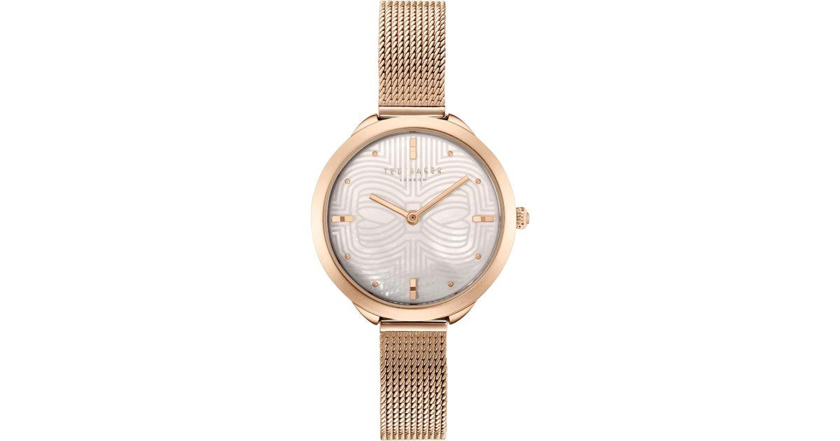 6b48505d3e22f Lyst - Ted Baker Women s Elena Metal Strap Watch in Metallic
