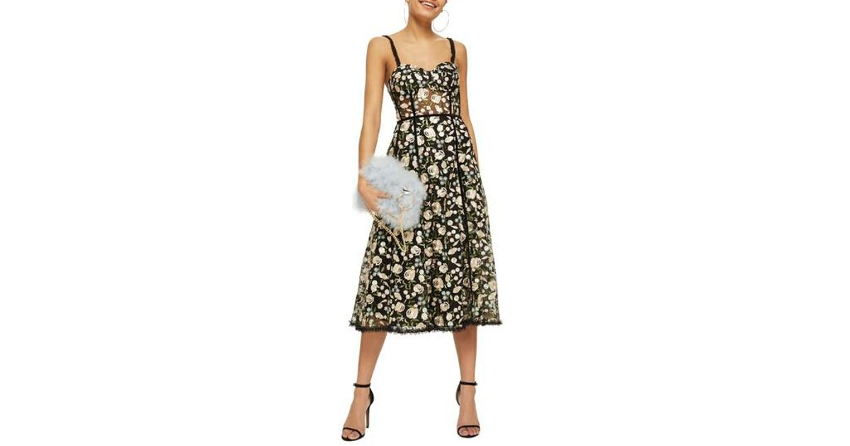 Lyst - Topshop Floral Corset Midi Dress in Black