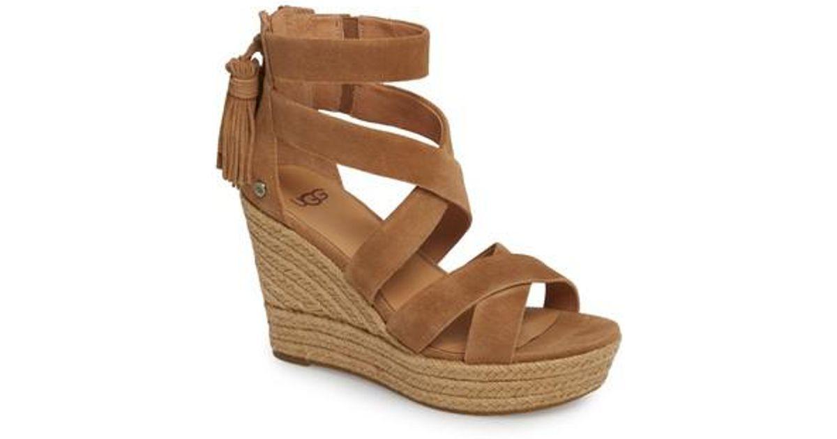 f48182872115 Lyst - UGG Ugg Raquel Platform Wedge Sandal in Brown