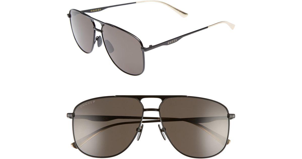 82cc377e258 Lyst - Gucci 80s Monocolor 60mm Polarized Aviator Sunglasses in Black for  Men