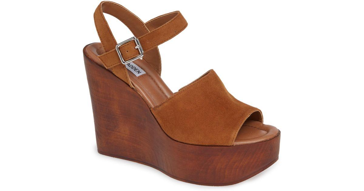 bcfa3186f Lyst - Steve Madden Bellini Wedge Sandal in Brown