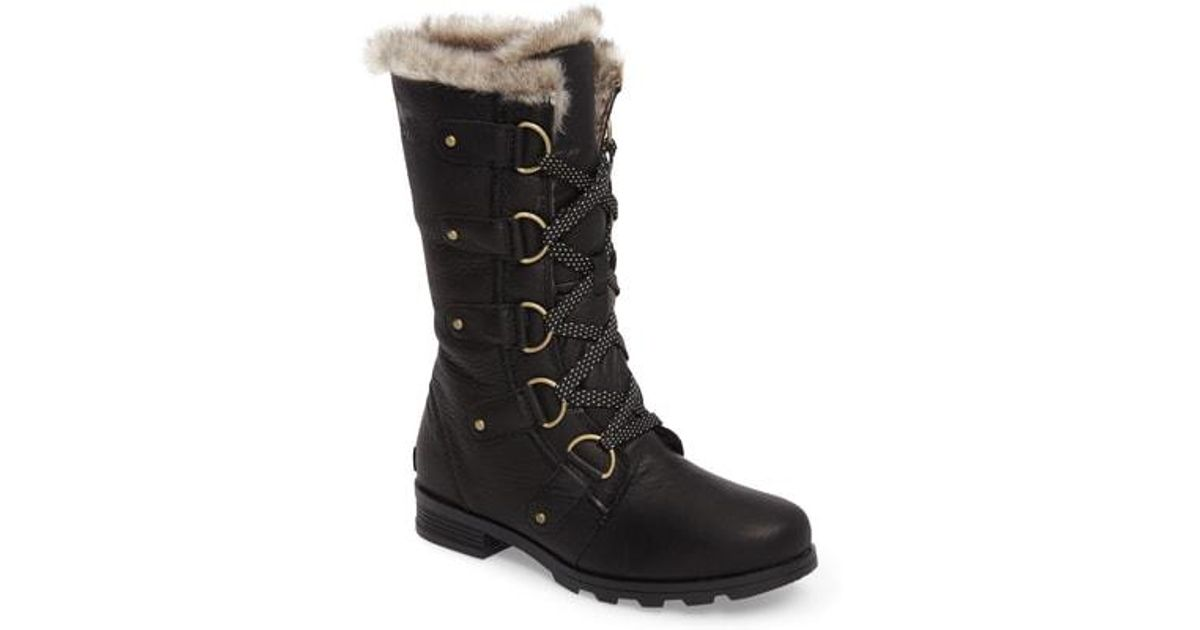 202e7509ac4fe1 Lyst - Sorel Emelie Waterproof Lace Up Boot With Faux Fur Trim in Black