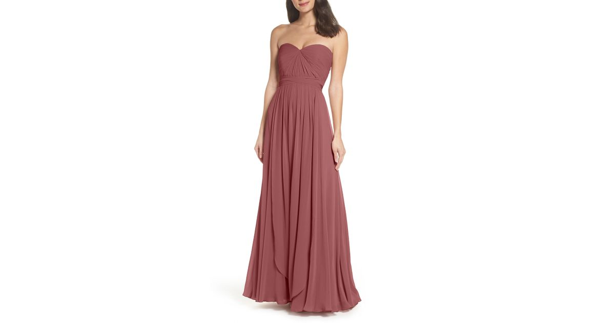 c0d43785faff Lyst - Jenny Yoo Mira Convertible Strapless Chiffon Gown in Pink