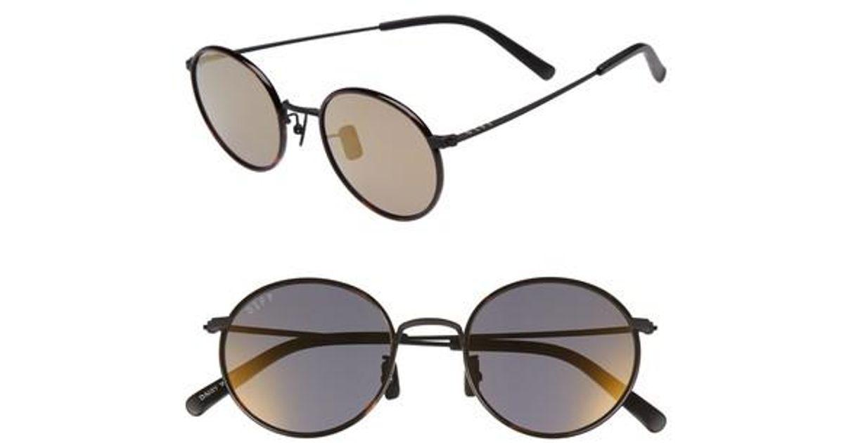 4ce9370d12 Lyst - DIFF Daisy 57mm Polarized Round Lens Sunglasses -