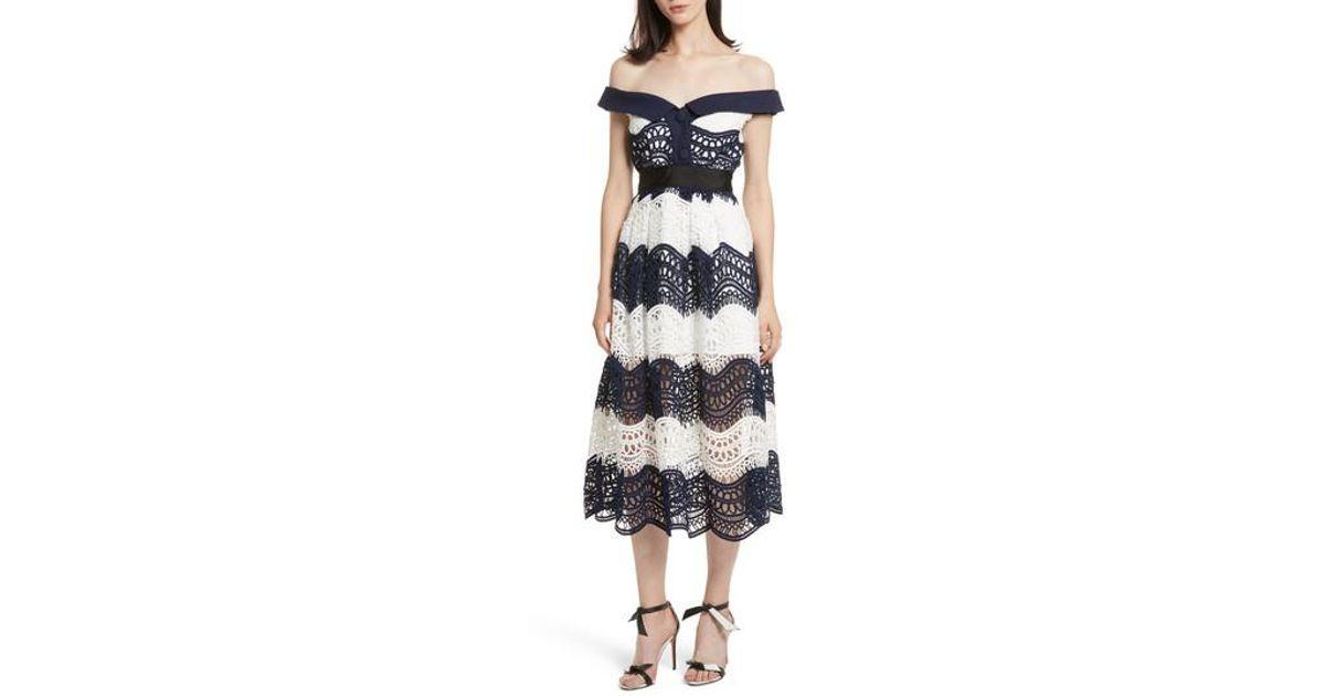 2afe337bd9570 Lyst - Self-Portrait Wave Lace Off The Shoulder Midi Dress in Blue