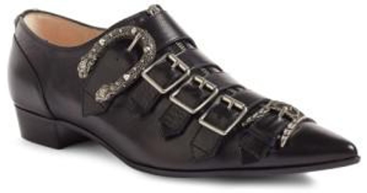 41fcde08ee0e Lyst - Gucci Susan Buckled Leather Loafers in Black