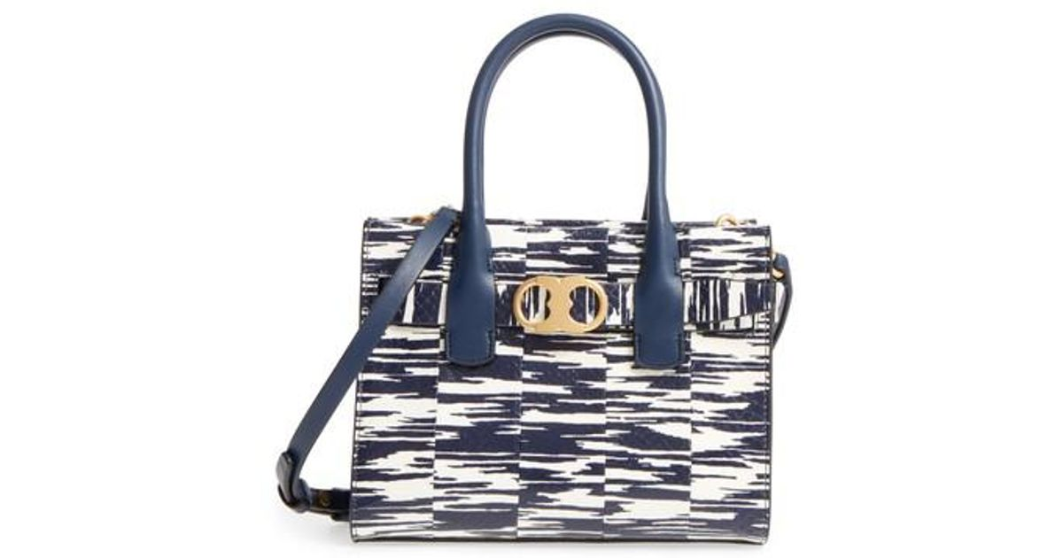 66eacdaff98 Lyst - Tory Burch Small Gemini Link Space Dye Genuine Snakeskin Tote in Blue