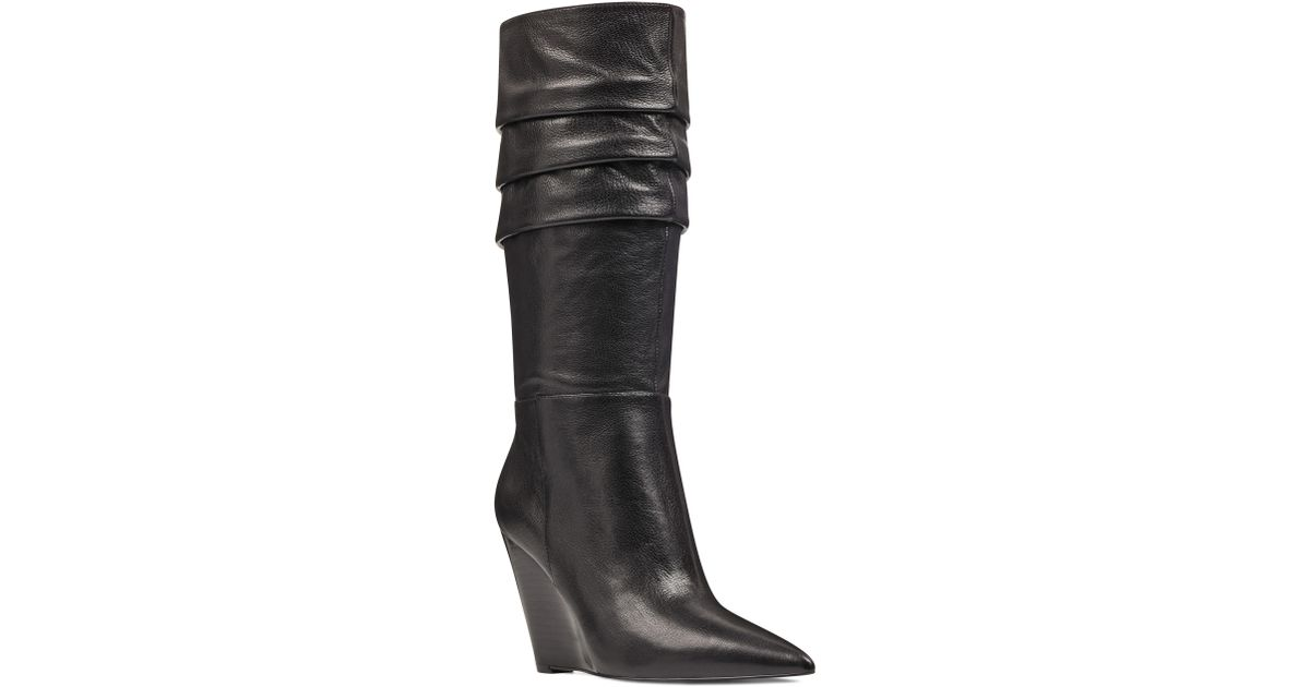 f1f5077e666 Lyst - Nine West Vernese Tiered Knee High Wedge Boot