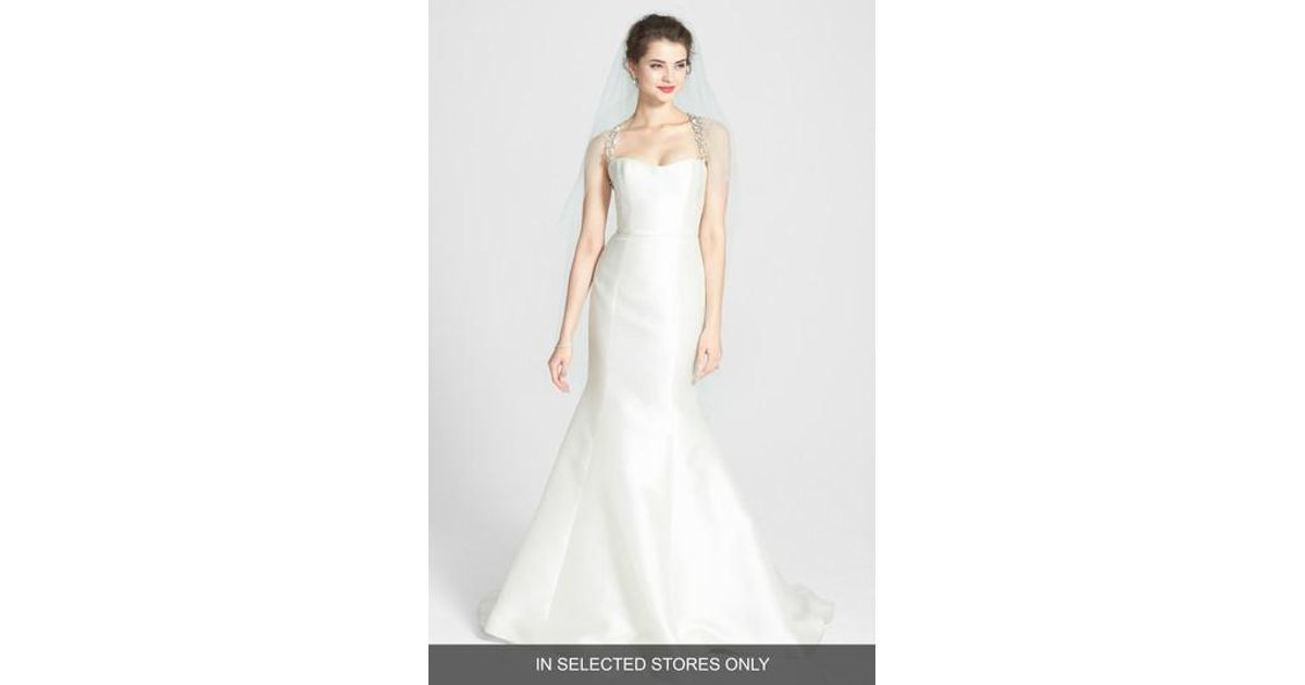 f4d44a9794bcb Lyst - Amsale 'lenox' Beaded Illusion Strap Silk Blend Trumpet Dress in  White